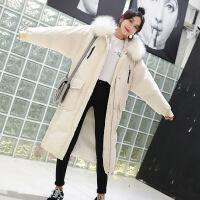长款羽绒女长过膝新款2018冬季大毛领棉衣女中长款韩版面包服 白色 XS