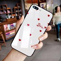 网红同款爱心苹果x手机壳镜面玻璃iphone6plus手机套挂绳简约黑白小清新情侣XR苹果xs Ma