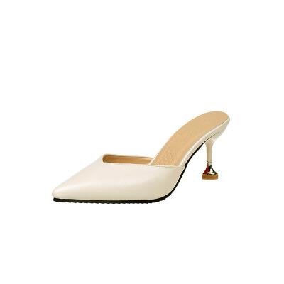 大东同款凉拖鞋女士夏半拖尖头包头凉鞋细跟性感中跟时尚女鞋19新款高跟鞋