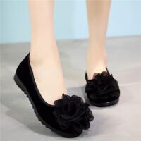 老北京布鞋女鞋单鞋黑色工作鞋新款2018平底豆豆鞋妈妈鞋酒店鞋软
