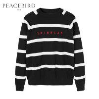 太平鸟男装 冬季新款黑白条纹刺绣毛衣时尚韩版圆领套头潮流毛衫