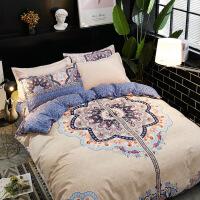大阪印花床上用品四件套 全棉生态磨毛套件床上用品2.0*2.3 被套200*230cm床单230*250 枕套