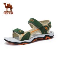 骆驼夏季儿童户外运动凉鞋男童露趾魔术贴沙滩鞋