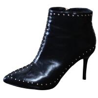 性感马丁靴欧美风个性铆钉细跟裸靴尖头黑色高跟短靴女18秋冬新款