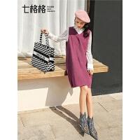 七格格红色冬季连衣裙女新款V领一步裙韩版学生宽松套头裙子