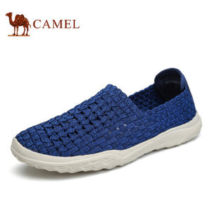camel骆驼男鞋 夏季新品套脚乐福鞋 轻质舒适透气时尚编织鞋