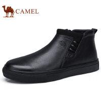 camel 骆驼男鞋 冬季新款休闲套脚皮鞋减震舒适男保暖皮鞋单鞋 柔软绒毛里 舒享时刻温暖