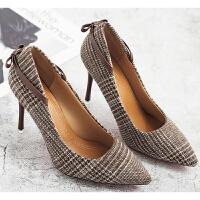大东同款春季新款中跟细跟高跟鞋时尚尖头单鞋女士韩版百搭鞋子秋
