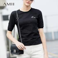 【每满200减100 多买多减 不封顶】Amii极简2018春装新款休闲纯棉圆领打底印花修身短袖T恤女