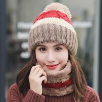 可爱骑车帽女冬天加绒护耳秋冬季帽子围脖保暖套装