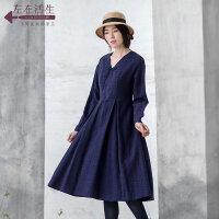 生活在左2019春季新款修身显瘦蓝染连衣裙中长款文艺长袖休闲女