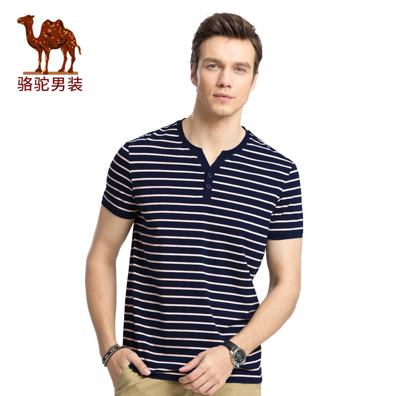 骆驼男装 夏季新款时尚亨利领条纹青年日常休闲短袖T恤衫男