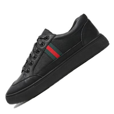 男鞋夏季男士休闲皮鞋英伦商务真皮圆头韩版潮流春季正装鞋子 黑色