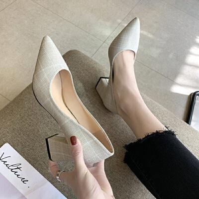 粗跟单鞋女2019春季新款布面尖头高跟鞋浅口工作鞋韩版百搭女鞋子
