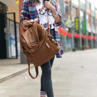 新款韩版简约真皮双肩包女休闲百搭牛皮单肩背包大容量软皮包