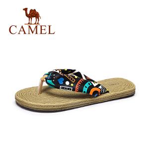camel骆驼女鞋 夏季新款甜美碎花人字拖女 沙滩防滑优雅拖鞋