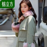 棉立方派克女冬季2018新款加厚大毛领韩国时尚工装棉衣外套