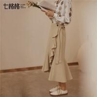 七格格卡其色一片式半身裙秋装女士2018新款中长款裙子鱼尾裙学生