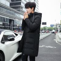 冬装连帽韩版修身潮流中长款棉服男后背杠条装饰棉衣男