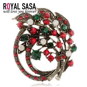 皇家莎莎RoyalSaSa饰品时尚圣诞花环胸花胸针女复古披肩扣优雅别针配饰礼物HXZ512003