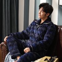 睡衣男冬季加厚加绒珊瑚绒三层夹棉法兰绒保暖家居服青年大码套装 点格58592 3层L(162-173/50-68kg)