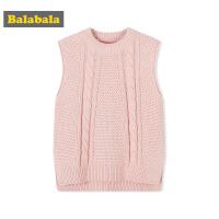 巴拉巴拉童装女童背心儿童秋装2017新款小童宝宝纯色针织毛衫马甲