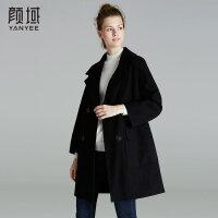 颜域品牌女装2017冬装新款大翻领纯色毛呢大衣宽松百搭羊毛外套女