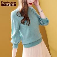 丹慕妮尔时尚气质亮丝针织衫女套头2019秋季新款修身显瘦长袖毛衣