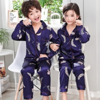 儿童睡衣女童长袖男童丝绸小孩家居服宝宝套装