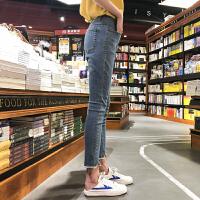 [2.5折价89元]唐狮牛仔裤女春秋新款韩版显瘦九分裤紧身小脚裤黑色加绒裤子