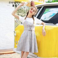 海贝夏季新款女装 时尚圆领短袖假两件格纹腰封高腰连衣裙
