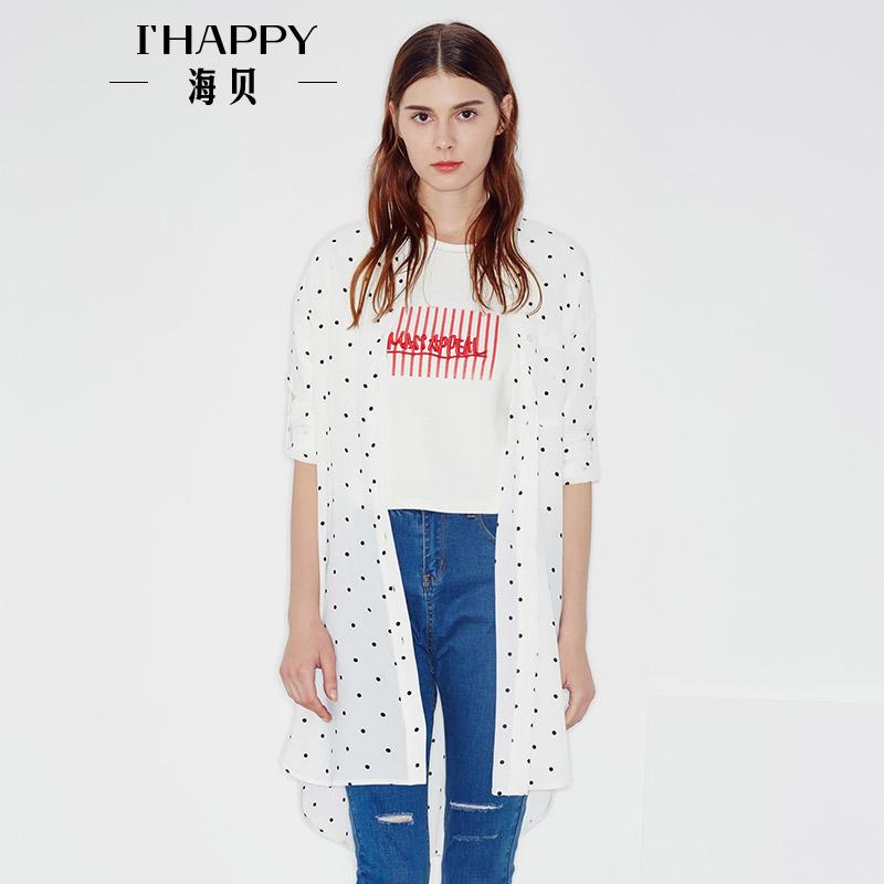 海贝2017年秋季新款女装 时尚翻领波点印花条纹中长款长袖衬衫