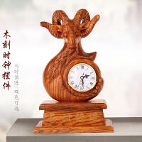 实木质工艺品生肖羊摆件 客厅桌面创意装饰品小摆设 招财开业礼品