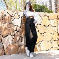 阔腿牛仔裤女冬季2018新款高腰韩版加绒加厚宽松直筒黑色秋冬长裤