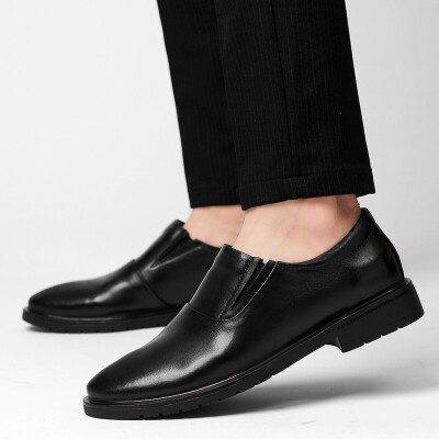 男士皮鞋新款低帮套脚头层牛皮商务休闲皮鞋增高鞋英伦风45码