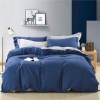 全棉磨毛四件套条纹简约被套床单床上用品琉赫秋冬