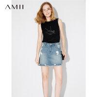 Amii[极简主义]2017夏季新款莫代尔两面穿字母印花短款吊带背心女
