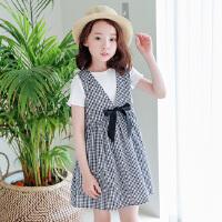 新品童装韩版女童连衣裙中大童格子裙