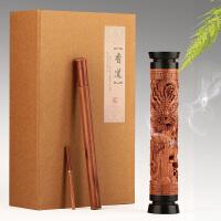 红木檀香炉线香盒卧香炉 实木质香插香薰炉黄杨木立式香筒套装