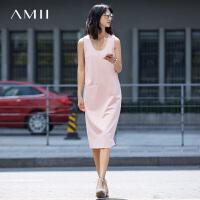 Amii[极简主义]2017夏新直筒纯色圆领假袋开衩背心连衣裙11731319