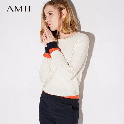 Amii极简欧货气质拼色长袖上衣秋装女2018新圆领修身打底大码毛衣.