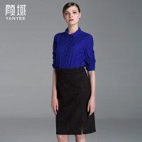 颜域品牌女装2017夏装新款简约时尚OL纹理提花POLO领长袖衬衫上衣