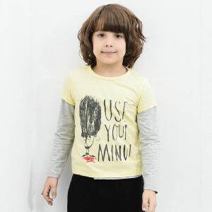【尾品汇 5折直降】amii童装2017夏装新款男童涂鸦短袖上衣中大童圆领简约版型T恤