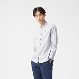 美特斯邦威男衬衫装春男时尚修身牛津纺长袖衬衫
