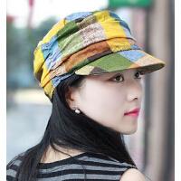 薄款时尚大格子平顶帽 女士时装帽鸭舌帽 棉质英伦气质妈妈帽