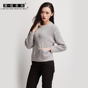 秋冬新款女装加厚兔绒毛衫粗毛线毛衣套头宽松针织衫有口袋