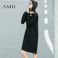 AMII[极简主义]秋冬女新纯色针织宽松长袖毛衣连衣裙