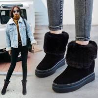 中筒靴雪地靴女2019冬季新款短筒靴子厚底马丁靴加厚保暖加绒棉鞋
