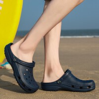 夏季男女休闲一体轻便防滑包头洞洞鞋半拖鞋子女鞋情侣沙滩鞋凉鞋男鞋