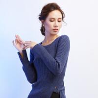 秋冬新款中长款圆领针织打底衫女套头纯色紧身毛衣系带修身侧开叉